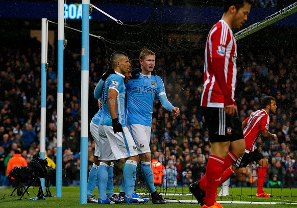 de Bruyne's opener was the result of a defensive mishap, courtesy of Maya Yoshida (right)