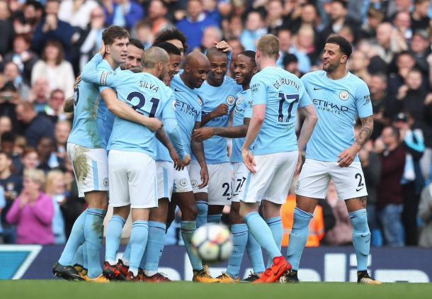 Il City festeggia il 7-2 allo Stoke - Foto Manchester City Twitter
