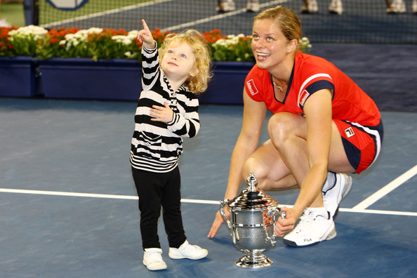 Clijsters famously pictured here with her daughter Jada after winning the US Open title in 2009 (Photo by Julian Finney / Getty Images)