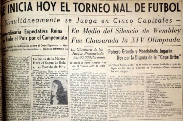 La prensa anunciaba el inicio del fútbol profesional en Colombia.   Fuente: Archivo fotográfico.