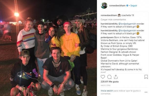 Familia Beckham en Coachella | Instagram Romeo Beckham