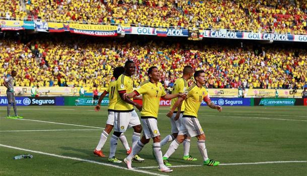 Bacca celebrando su gol con la Selección. Foto: EFE.