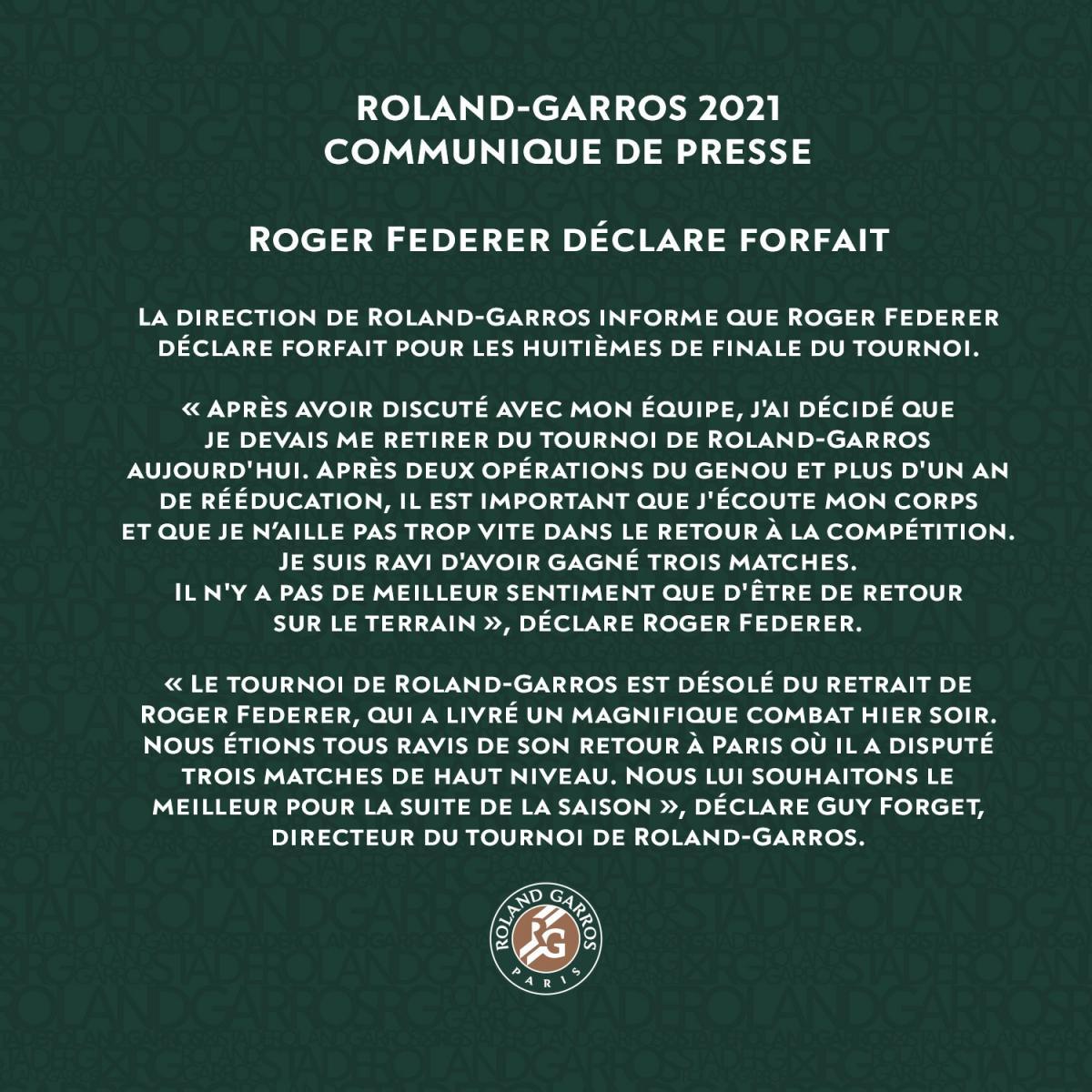 Comunicado oficial de Roland Garros