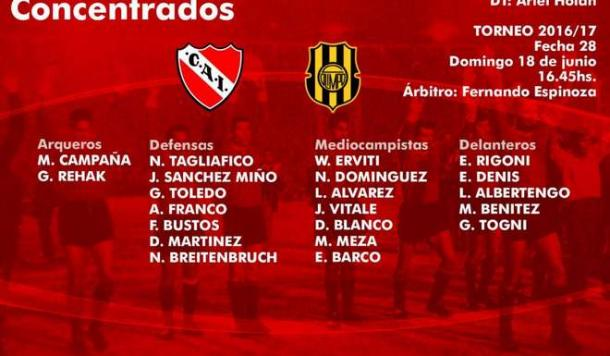 Horario, TV y formaciones — Independiente-Olimpo