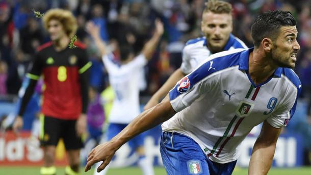 Graziano Pelle celebrates scoring in Italy's win over Belgium | Photo: Sky Sports