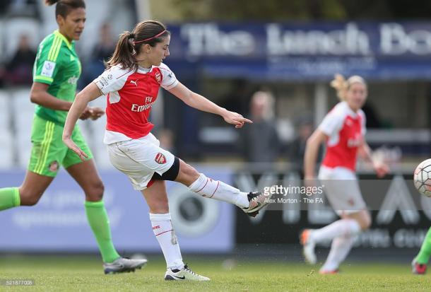 van de Donk in action for Arsenal against Sunderland in the FA WSL