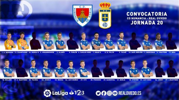Convocatoria para Soria | Imagen: Real Oviedo