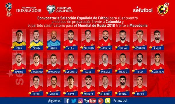 Os 25 convocados de Julen Lopetegui (Foto: Divulgação/SEFutbol)
