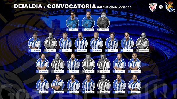 Convocatoria de Eusebio para el partido en San Mamés | Fuente: Twitter Real Sociedad