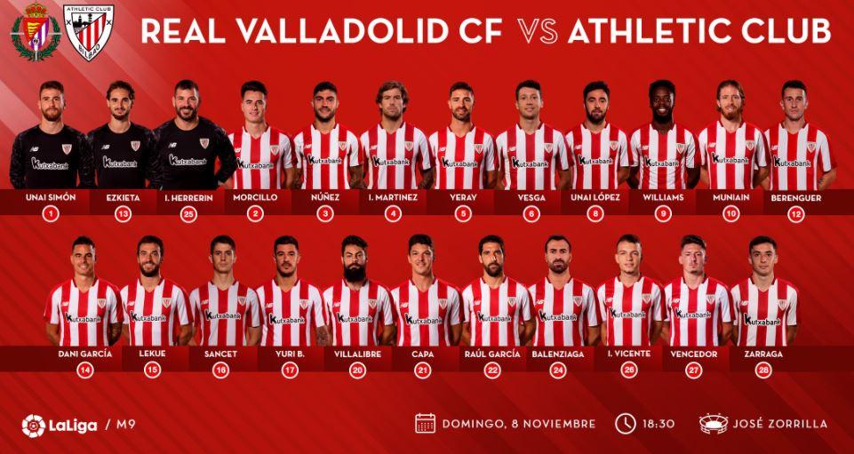 Convocatoria Athletic Club. Fuente: twitter @athleticclub