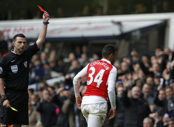 Coquelin gets his marching orders (photo: AP)