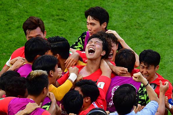 Comemoração do segundo gol marcado por Son Heung-Min (Foto: Luis Acosta / AFP)