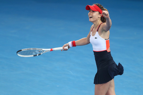 Cornet celebrates her victory over Cibulkova (Photo by Chris Hyde / Getty Images)