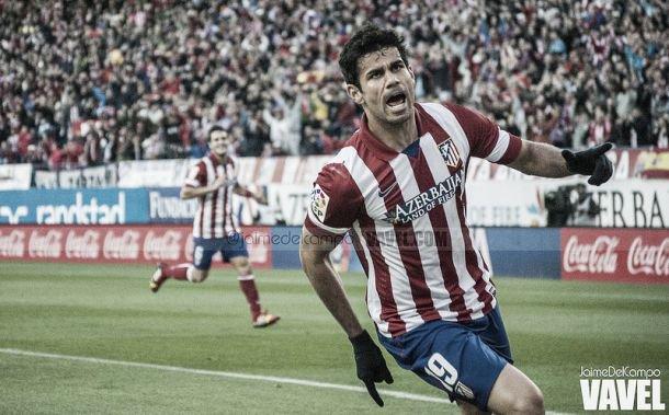 Diego Costa celebrando un gol durante su estancia en el Atlético. Fotografía: Jaime del Campo