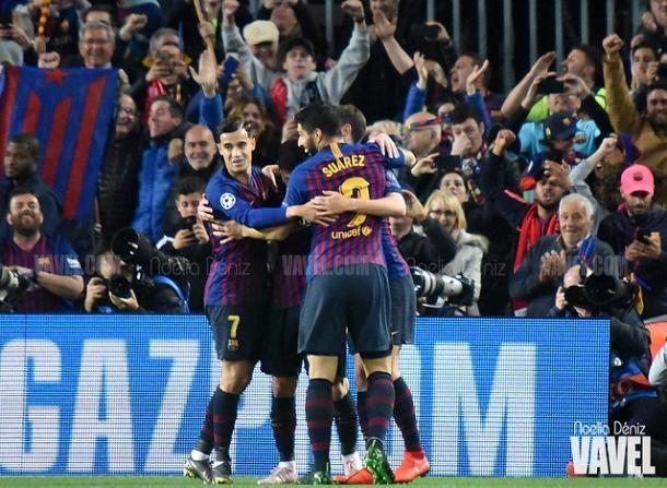 Imagen de los jugadores del FC Barcelona celebrando un gol. FOTO: Noelia Déniz