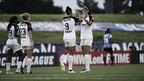 Lynn Williams, Crystal Dunn, Kristen Hamilton and Abby Erceg with the North Carolina Courage against Sky Blue FC at Yurcak Field in Piscataway, NJ on July 14, 2018 | Photo: North Carolina Courage