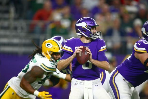 El quarterback de los Vikings Kirk Cousins tuvo una mala noche (Foto: www.vikings.com))