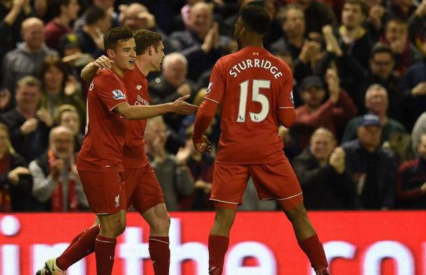 Coutinho and Sturridge joke about who is claiming the fourth goal (photo: Getty Images)