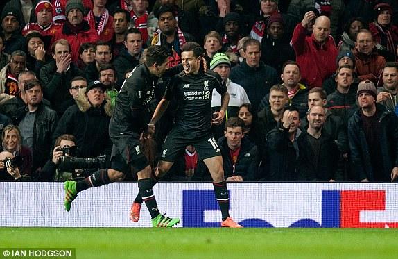 Coutinho wheels away in celebration after scoring (photo: Ian Hodgson)