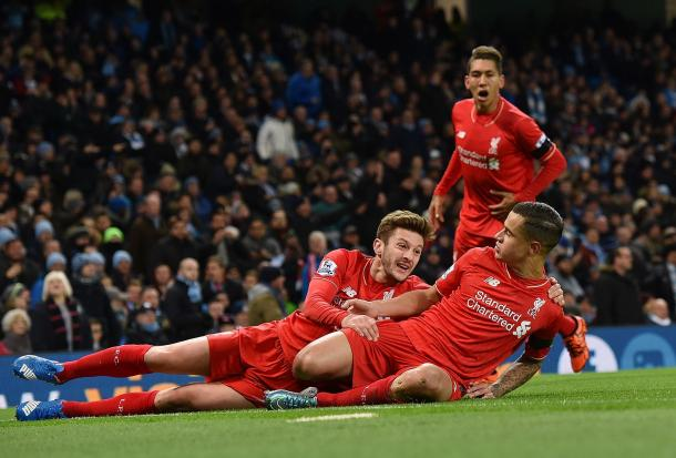 Coutinho celebrates his effort in the 4-1 win against City. (Picture: Getty Images)