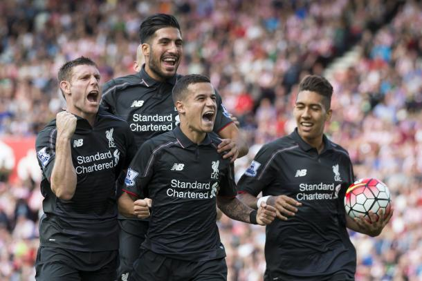 Coutinho celebrates his stunning late winner against Stoke. (Picture: Getty Images)