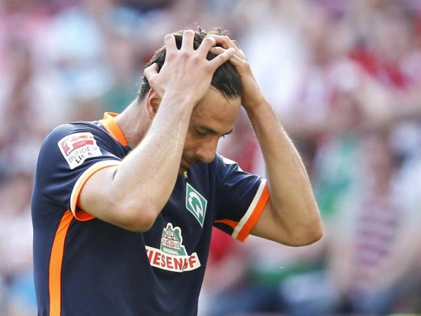 Frustration on the face of Claudio Pizarro. | Image credit: kicker - Getty Images
