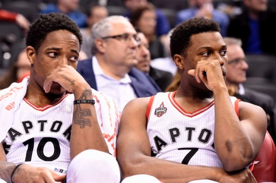 The star duo of DeRozan (right) and Lowry (left) failed to show up in game one of the playoffs against the Pacers | Frank Gunn, AP