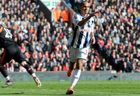 Peter Odemwingie gave West Brom their first win in 45 years against Liverpool back in 2012. (Photo: Premier League)