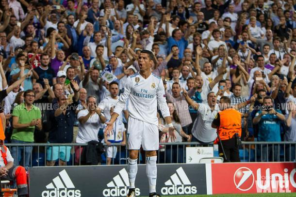 Cristiano celebra uno de sus goles ante el APOEL en el partido de ida/Foto:Vavel (Daniel Nieto)