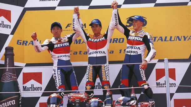 Crivillé, Okada y Gibernau en el podio / BoxRepsol.com