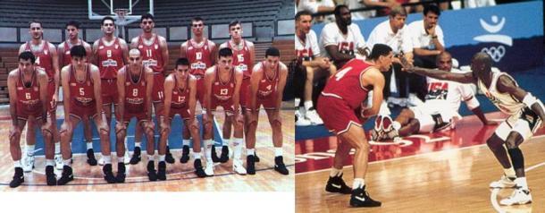 Izq: El seleccionado en Barcelona. Der: Drazen Petrovic vs. Michael Jordan