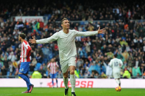 Cristiano Ronaldo celebrando su doblete. Fotografía: Real Madrid