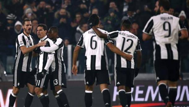 L'esultanza della Juventus dopo il gol del 3-0 di sabato scorso sul Pescara.   gazzettaobjects.it.