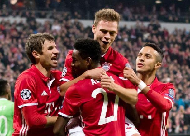 Kimmich festeggia il suo gol nella partita d'andata insieme a Muller, Thiago Alcantara e l'assistman della situazione, Alaba.   ansa.it.