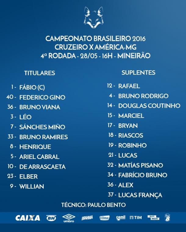 O Cruzeiro está confirmado. (Foto:@Cruzeiro)