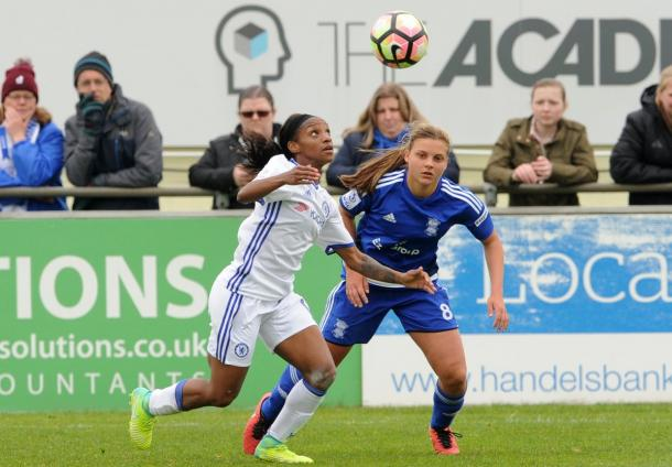 Crystal Dunn focuses on the ball in a match against Birmingham City. Source: Chelsea Ladies FC