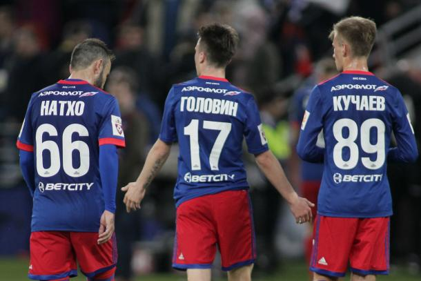 Los jugadores del CSKA se lamentan tras la derrota ante el Dinamo Moscú | Fotografía: CSKA