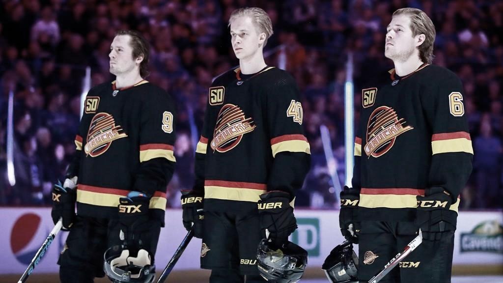 J.T. Miler, Elias Petterson y Brock Boeser   Foto: NHL.com