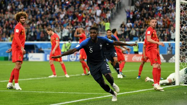 Umtiti celebra su gol ante Bélgica. Foto: FIFA