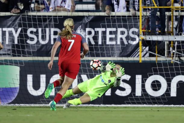 Sabrina D'Angelo has two shutouts in two games in 2017. Source: North Carolina Courage