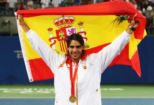 Nadal with his gold medal in Beijing (Getty)