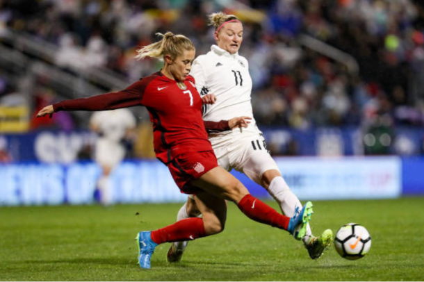 USWNT defender Abby Dahlkemper battles with Germany's Alexandra Popp in a 1-0 United States victory at the 2018 SheBelieves Cup.