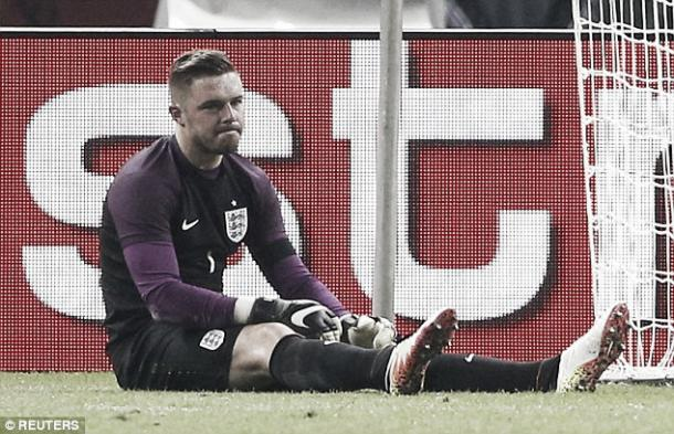 Jack Butland looks disappointed as his season is curtailed by injury. | Photo: Reuters