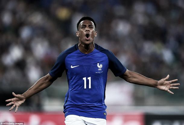 Martial was delighted to score his first goal for the national team (Source:gettyimages)
