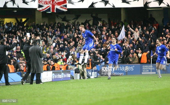Damien Duff jumps for joy after putting Chelsea 3-0 up after 20 minutes. (Source: Francis Glibbery/Chelsea FC via Getty Images)