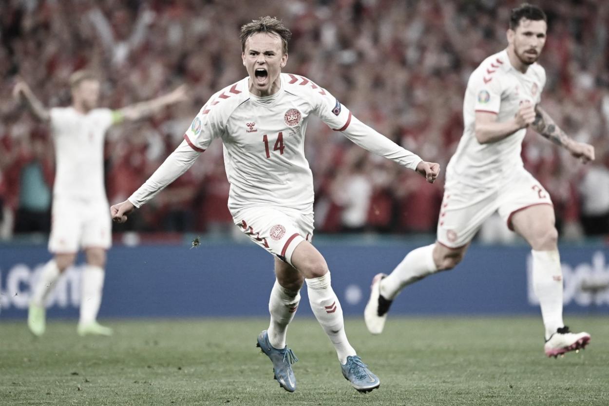 Damsgaard celebrando su gol. / Foto: DBU Scanpix.
