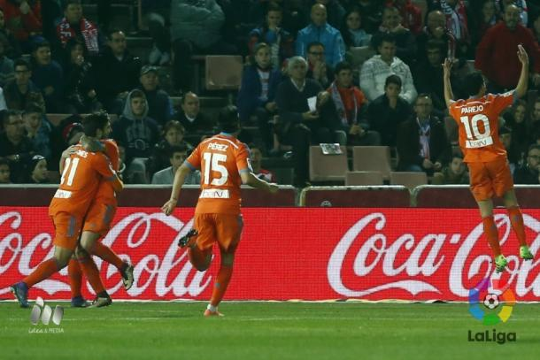 Dani Parejo celebrates putting Valencia 1-0 up (Credit: La Liga)