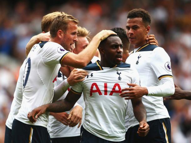 Danny Rose celebrates his equaliser against Liverpool. | Photo: Independent