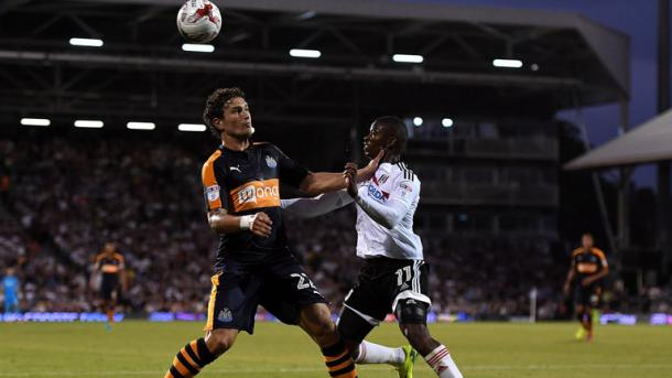 Janmaat playing one of his last games for Newcastle. Photo: SkySports