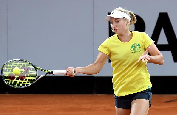 Daria Gavrilova Practicing Ahead Of Australia's Fed Cup Tie. Photo: Bradley Kanaris/Getty Images